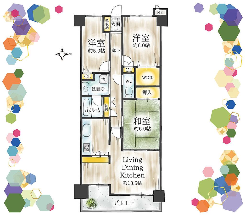 間取り(3LDK、専有面積69.52m2、バルコニー面積8.77m2、東向き、廊下にある収納は、お掃除グッズやアイロングッズ、わんちゃんグッズなどの収納に便利です。)