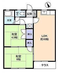 コーポKEIII[1階]の間取り
