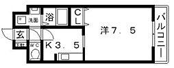 大阪府大阪市住吉区苅田3丁目の賃貸マンションの間取り