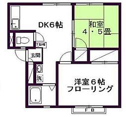 東京都世田谷区用賀3丁目の賃貸アパートの間取り
