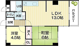 兵庫県姫路市栗山町の賃貸マンションの間取り