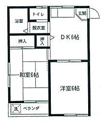 第6コーポオオタカ[2階]の間取り