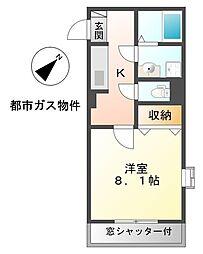 愛知県稲沢市長野2丁目の賃貸アパートの間取り