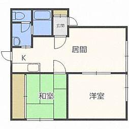 北海道札幌市東区北三十四条東4丁目の賃貸アパートの間取り
