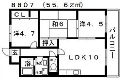 ディアコート藤井寺[202号室号室]の間取り