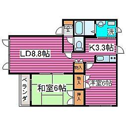 JR学園都市線 石狩当別駅 徒歩10分の賃貸アパート 2階2LDKの間取り