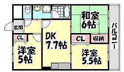 大阪府和泉市伯太町1丁目の賃貸マンションの間取り