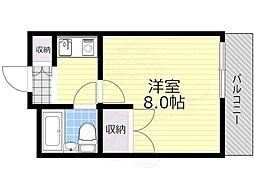 北大阪急行電鉄 緑地公園駅 徒歩12分の賃貸マンション 1階1Kの間取り