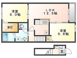 岡山県倉敷市中畝4丁目の賃貸アパートの間取り