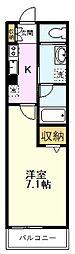 JR南武線 西国立駅 徒歩3分の賃貸マンション 1階1Kの間取り