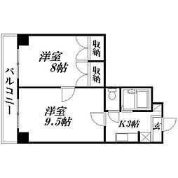 静岡県浜松市中区住吉3の賃貸マンションの間取り