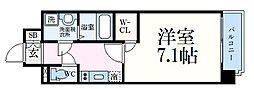 神戸市海岸線 中央市場前駅 徒歩5分の賃貸マンション 3階1Kの間取り