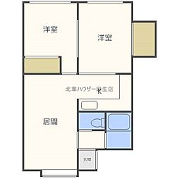 北海道札幌市北区新川二条10丁目の賃貸アパートの間取り