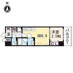 インサイトルポ山科椥辻 3階1DKの間取り