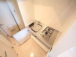 stage 黒門町のシステムキッチン(ガス2口)冷蔵庫・レンジ等ご用意できます