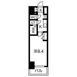 名古屋市営鶴舞線 浅間町駅 徒歩5分の賃貸マンション 9階1Kの間取り