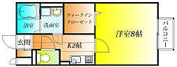 近鉄南大阪線 道明寺駅 徒歩11分の賃貸アパート 2階1Kの間取り