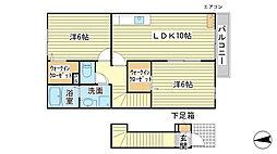 兵庫県たつの市御津町朝臣の賃貸アパートの間取り