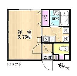 神奈川県相模原市南区北里1丁目の賃貸アパートの間取り