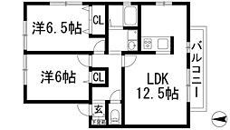 兵庫県宝塚市末成町の賃貸アパートの間取り