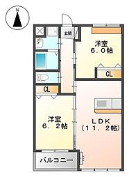 KAMISAKURA[203号室]の間取り