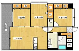 ブランシュール弐番館[3階]の間取り