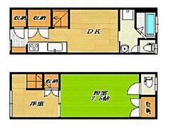 [テラスハウス] 大阪府大阪市港区市岡4丁目 の賃貸【/】の間取り