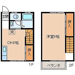 長野県岡谷市御倉町の賃貸アパートの間取り