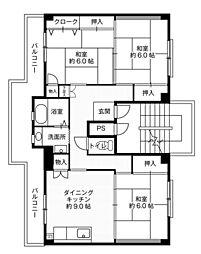 ビレッジハウス大島2号棟2階Fの間取り画像