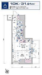 リヴシティ横濱新川町弐番館 8階1DKの間取り