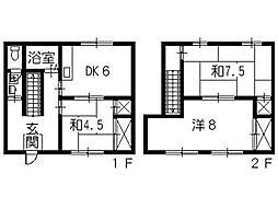 広島県呉市的場2丁目の賃貸アパートの間取り