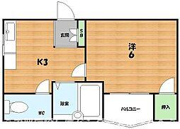 大阪府枚方市村野本町の賃貸マンションの間取り