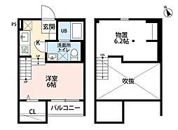 JR鹿児島本線 香椎駅 徒歩9分の賃貸アパート 2階1Kの間取り