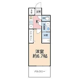 ファステート都島ベルズ 11階1Kの間取り