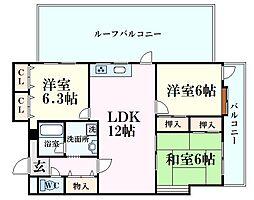 芦屋川ビューハイツ 5階3LDKの間取り