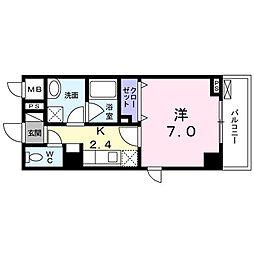 NAKAMURA BLD. 3階1Kの間取り