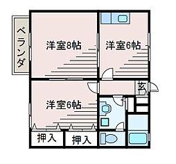 東京都町田市森野2丁目の賃貸アパートの間取り