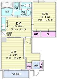 JR東北本線 岩沼駅 徒歩15分の賃貸アパート 1階2DKの間取り