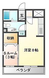 ルミエールヤナセ B[3階]の間取り