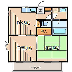 神奈川県相模原市南区古淵4丁目の賃貸アパートの間取り