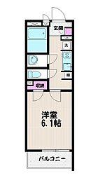 クレイノフラットメイト桜[102号室]の間取り