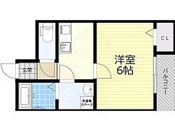大阪モノレール本線 柴原阪大前駅 徒歩6分の賃貸アパート 2階1Kの間取り