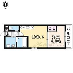 近鉄京都線 伏見駅 徒歩3分の賃貸マンション 地下1階1LDKの間取り