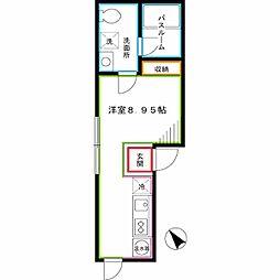 西武新宿線 新井薬師前駅 徒歩5分の賃貸マンション 2階ワンルームの間取り