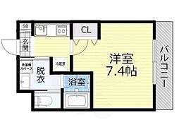 JR大阪環状線 大阪城公園駅 徒歩10分の賃貸マンション 4階1Kの間取り
