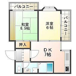 大阪府大阪市平野区西脇4丁目の賃貸マンションの間取り