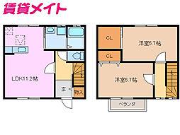 近鉄名古屋線 箕田駅 徒歩9分の賃貸テラスハウス 1階2LDKの間取り