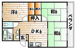 福岡県行橋市行事1丁目の賃貸マンションの間取り