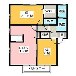 愛知県海部郡大治町大字西條字壱町田の賃貸アパートの間取り