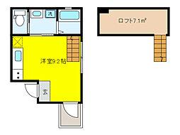JR東海道・山陽本線 摂津本山駅 徒歩5分の賃貸マンション 2階1SKの間取り